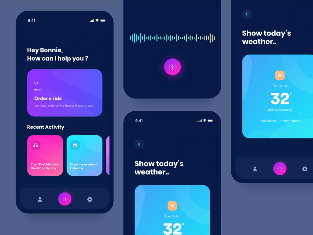 Interface d'une application utilisée par la voix.