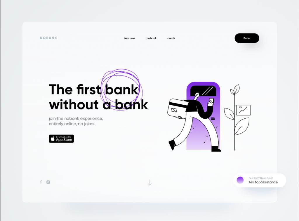 Une belle home page minimaliste à forte identité.