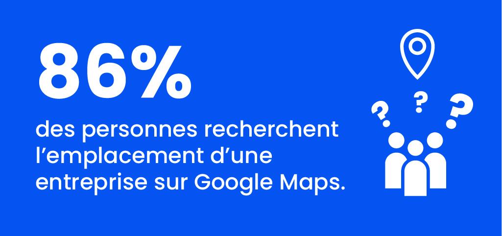 chiffres sur le nombres de personne qui recherchent l'emplacement d'une entreprise sur Google maps